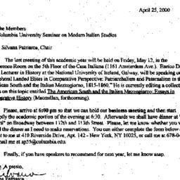 Announcements, 2000-04-25. ...