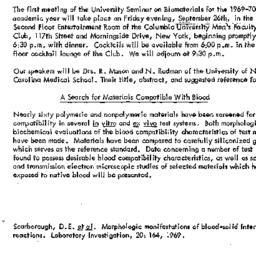 Announcements, 1969-09-10. ...