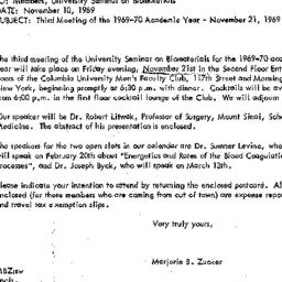 Announcements, 1969-11-10. ...