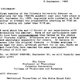 Announcements, 1985-09-05. ...