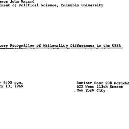 Announcements, 1969-01-13. ...