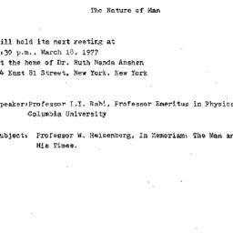 Announcements, 1977-03-18. ...