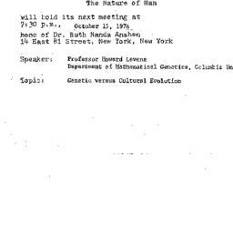 Announcements, 1976-10-15. ...