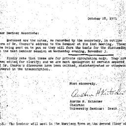 Announcements, 1971-10-28. ...