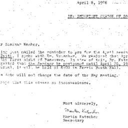 Announcements, 1976-04-08. ...