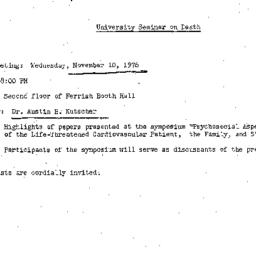 Announcements, 1976-11-10. ...