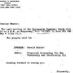 Announcements, 1981-10-14. ...