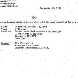Announcements, 1983-09-30. ...
