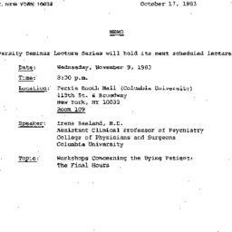 Announcements, 1983-10-17. ...