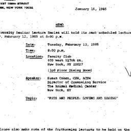Announcements, 1985-01-16. ...