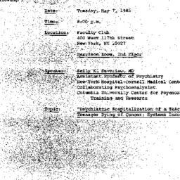 Announcements, 1985-04-10. ...
