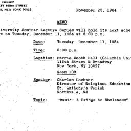 Announcements, 1984-11-23. ...