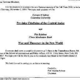 Announcements, 2000-10-11. ...