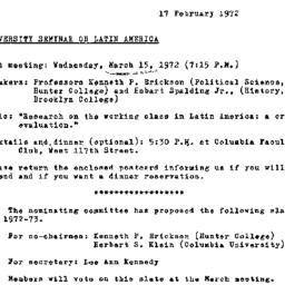 Announcements, 1972-02-17. ...