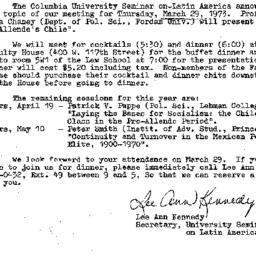 Announcements, 1973-03-29. ...
