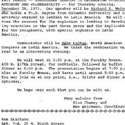 Announcements, 1973-12-20. ...