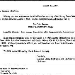 Announcements, 2000-04-06. ...