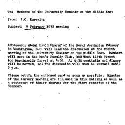 Announcements, 1972-01-20. ...