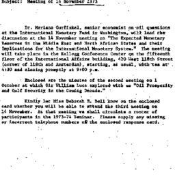 Announcements, 1973-10-19. ...