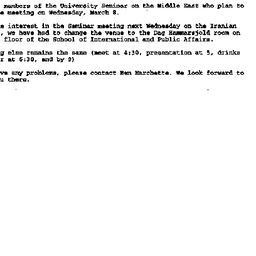 Announcements, 2000-03-03. ...