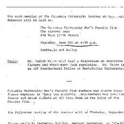 Announcements, 1972-06-08. ...