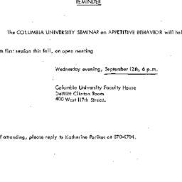 Announcements, 1973-09-12. ...
