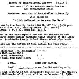 Announcements, 1974-12-02. ...