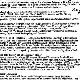 Announcements, 2000-02-09. ...