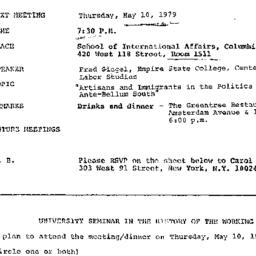 Announcements, 1979-05-10. ...