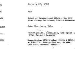 Announcements, 1983-01-27. ...