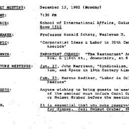 Announcements, 1982-12-13. ...
