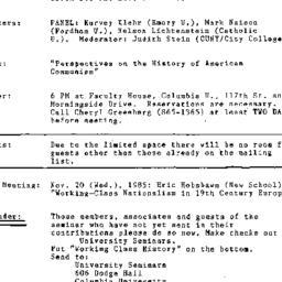 Announcements, 1985-10-17. ...