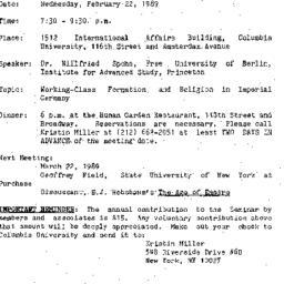 Announcements, 1989-02-22. ...