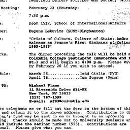 Announcements, 1996-02-01. ...