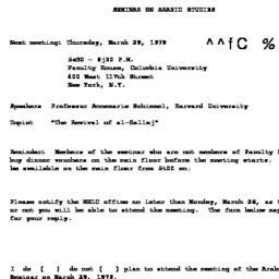 Announcements, 1979-03-29. ...