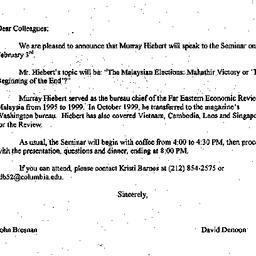 Announcements, 2000-01-04. ...
