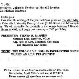 Announcements, 1998-04-07. ...