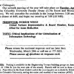 Announcements, 2000-03-07. ...