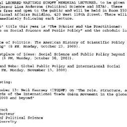 Announcements, 2000-10-16. ...