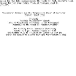 Announcements, 2000-03-27. ...