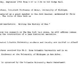 Announcements, 2000-09-27. ...