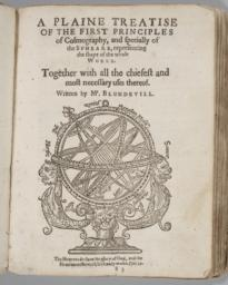 Title page of treatise entitled, 'A Plaine Treatise of the First Principles of Cosmography, and Specially of the Spheare, Representing the Shape of the Whole'
