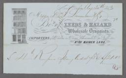 Leeds & Hazard, Wholesale Druggists, No. 121 Maiden Lane, Bill/Receipt