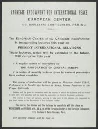 Poster for Chaire Carnegie program in Paris