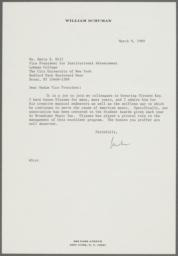 Letter from William Schuman on celebration for the retirement of Ulysses Kay