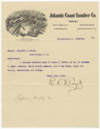 Atlantic Coast Lumber Co.. Letter - Recto