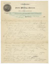 State Mining Bureau. Letter - Recto