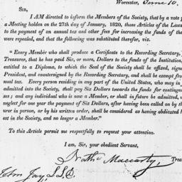 Document, 1820 June 10