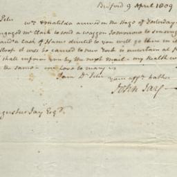 Document, 1809 April 09
